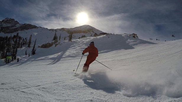 Alta Ski Area - 90 year old Janet Carpenter skiing at Alta! Great snow conditions, powder, packed powder and groomed runs!  - ©1WRiPhone