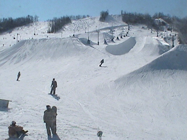 A view of the terrain park in Blue Mountain, Ontario