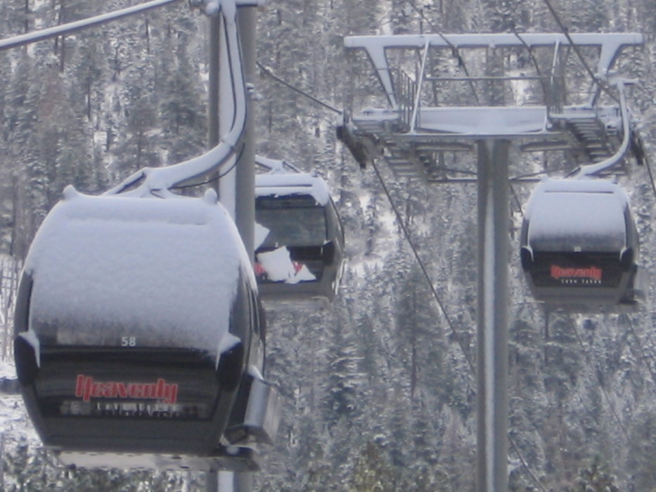 Heavenly gondolas after first snow, Oct. 4, 2009