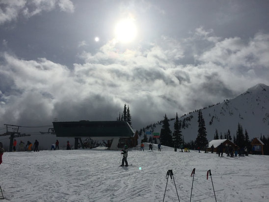 Crystal Mountain - I think the forecast of rain scared people away. Spring like snow conditions with no rain and sun filtering thru the clouds. Not too busy for a President's day holiday here!   - ©Sayeoh