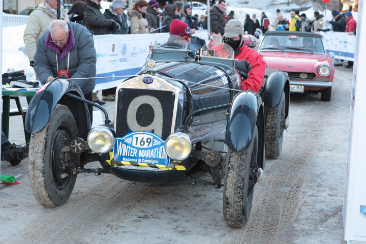 A vintage car ready to race in the Winter Marathon at Madonna di Campiglio, ITA.