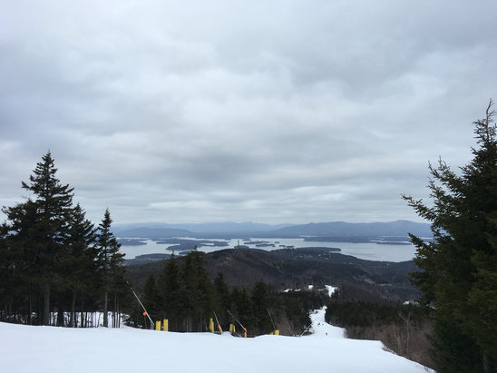 Gunstock - Extremely icy on the top trails. More sliding than skiing tonight. Lower trails are a bit better. - ©Allie
