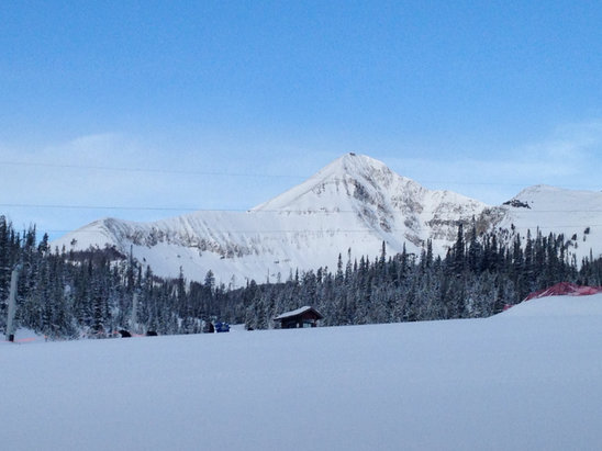 Big Sky Resort - Six inches of snow over night. Can't wait to hit the slopes - ©Carreen Carson's iPhone