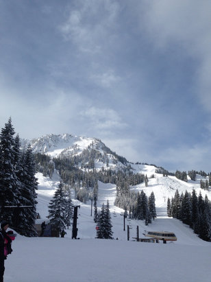 Stevens Pass Resort - Before another round of snow moved in. Mill Valley groomers were HARD and icy so NO. Front side and backside non-groomers were good with lots of heavy snow. Bring your legs! - ©iPhone