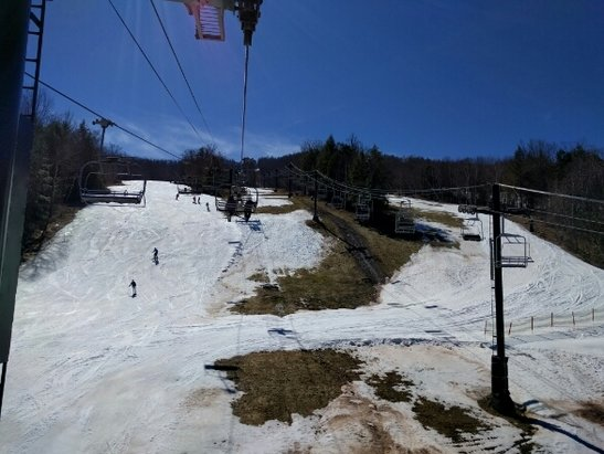 Windham Mountain - Skiable but mushy. East side is finished. The snow was brown by noon. - ©CNYSkier