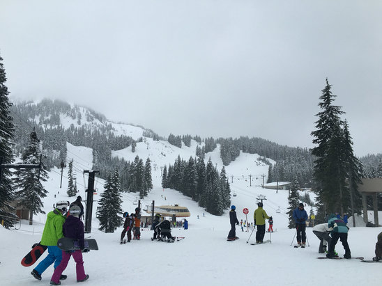 The Summit at Snoqualmie - Snowing heavily now. Some dust on crust, decent pow stashes. Low wind, good vis. Suppose to get better this afternoon!  - ©slimfitcasual