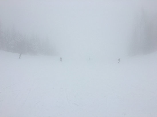 Steamboat - Low visibility doesn't even touch what it's been like mid mountain and up. Unless you have some sort of extra sensory perception, it's like skiing in the dark. Not a good idea. Not fun at all.   - ©WL