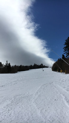 Stratton Mountain - Better than expected.  Got  dusting last night and the sun came out by noon and softened up the snow.   You can even find some loose fresh snow on the sides.   No crowds and not too cold.   Still worth coming up on a weekday.    - ©jPhone