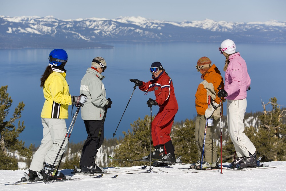 Group of women at a skiing clinic at Heavenly CA
