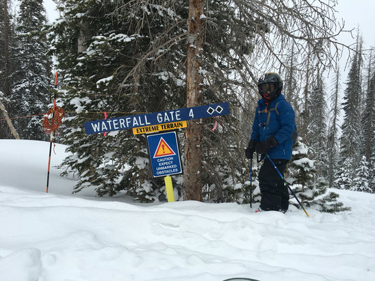 Wolf Creek Ski Area - The little man at the waterfall area. Best week of powder and friends ever! - ©iPhone