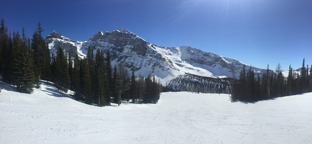 Sunshine Village - Was very warm and sunny all day, and the conditions reflected it. Snow was heavy and sticky after about 2pm on Goats Eye. Soft everywhere (except, of course, Red 90 and the ice parkway down to the Divide chair) after about 11am. Bring water skis.  - ©Sean