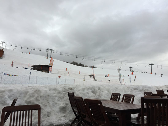 La Plagne - Just arrived at Aime La Plagne.  Bit slushy but plenty of snow! - ©David's iPhone 6