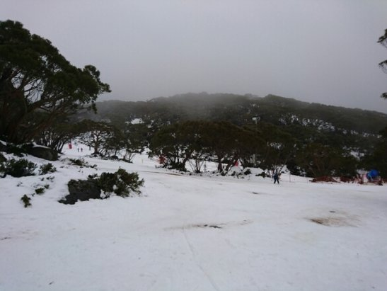Mt. Baw Baw Alpine Resort - Just been up Mt Baw Baw today after the website claimed there was 12cm of new snow (the weekly snow fall being 54cm) and the conditions were excellent. Boy where we disappointed...  where to begin. The snow patchy with 70-75% coverage at best. A lot of runs had bare patches and thin covering of snow down to the grass, rocks maybe a slushy stream (see attached pics) but oddly it was also deep off the runs. According to the website 5 lifts are in operation, this includes the magic carpet and a lift that takes you halfway up a largely closed run. So call it 3 and a half. Two main lifts you are going to want to use: Hut Run Platter and Maltese Cross T-bar had quite a lot of runs closed limiting the options to mainly 3-4 decent runs. Felt very mislead and definitely not worth paying for a full lift pass until there is more new snow and there is a big dump. It didn't snow today so I can imagine the conditions will only worsen. - ©Jimmy C 84