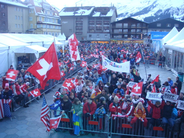 "Spectators at the Lauberhorn races, Wengen, Switzerland. ""Siegerehrung 11.1.08"""