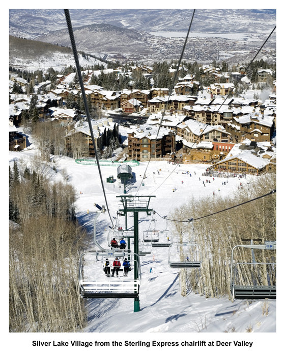 Silver Lake Village from the Sterling Express chairlift at Deer Valley.