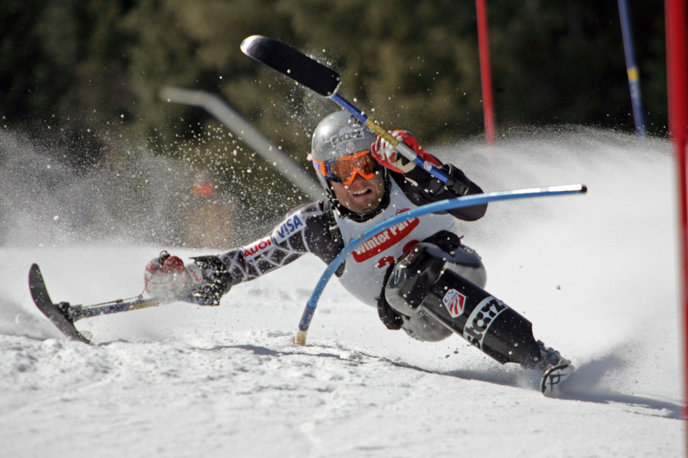 Adaptive skier Tyler Walker in Aspen, CO