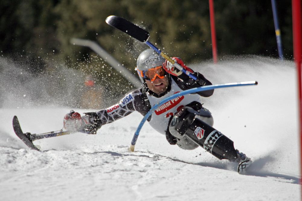 Adaptive skier Tyler Walker in Aspen, CO