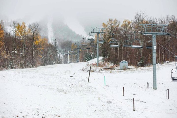 Sugarloaf - A little snow today to get us dreaming for a big snow season. Photo from Sugarloaf's face book page.  - ©Brian Hamann's iPhone