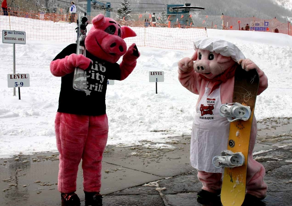 Pig mascots at Powderhorn, CO.