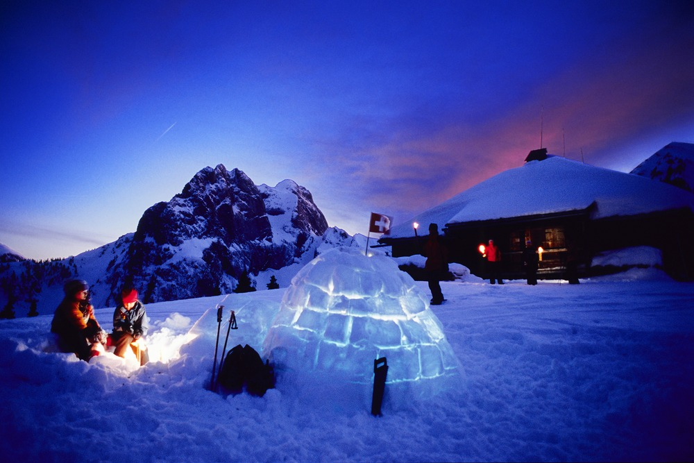 Gstaad igloo at night.