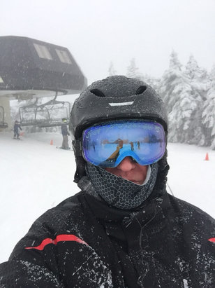 Stratton Mountain - Rain Friday , snow at top sat. Icy early sat, got better as day went on. Minimal crowds, much better than last year - ©iPhone