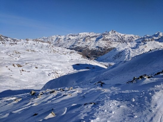 Val d'Isère - A lot of hard packed and groomed terrain; everything off piste is pretty tracked out. Overnight snow making is topping up the popular sections with most of the mountains open. Pretty good for Christmas skiing. - ©Jason