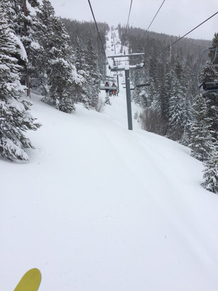 Keystone - Light snow today but tons fell last night great soft turns with piles of powder! - ©Ryan Hofsheier's iPhone