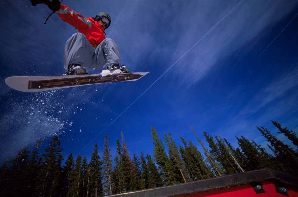 Terrain park boarder at Angel Fire, NM. Photo by Jack Affleck.