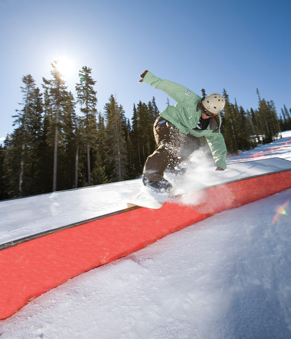 Railgrind boarder at Angel Fire. Photo by Jack Affleck.