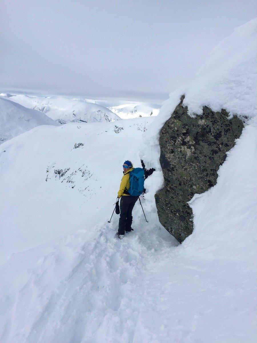 På vei opp mot toppen av Hest etter at vi hadde tatt av oss skiene. - ©Christine Amdam