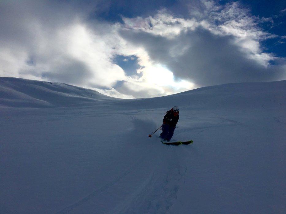 Det var litt kaldere på søndagen, men nedkjøringen var like fantastisk. - ©Brita Vist