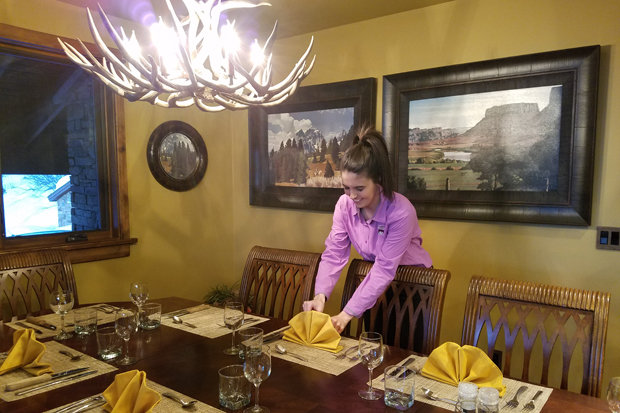 Katie going above and beyond in preparation for dinner. - ©Heather B. Fried