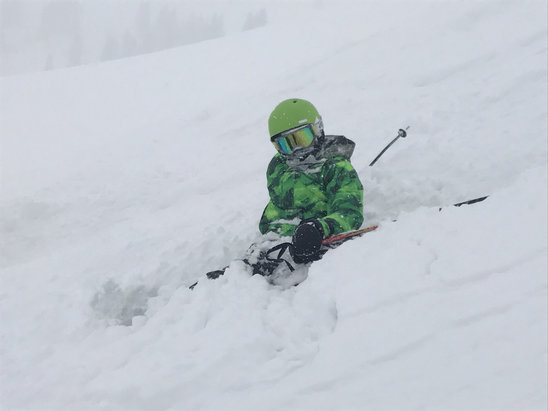 Vail - Way more than 4 inches.   Almost every one our runs had untracked pow in the bowls.  Super fun day! - ©Jenny's iPhone