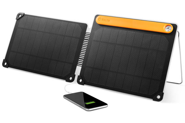 BioLite SolarPanel 10+: $129.95 Harness the power of the sun and charge phones, tablets and other gadgets with this 10-watt output USB solar panel. A kickstand allows for placement on uneven terrain and the corner latches are perfect for attaching the panel to a backpack. A built in sundial allows for easy alignment and maximum charges. With the SolarPanel 10+ you'll always be connected.