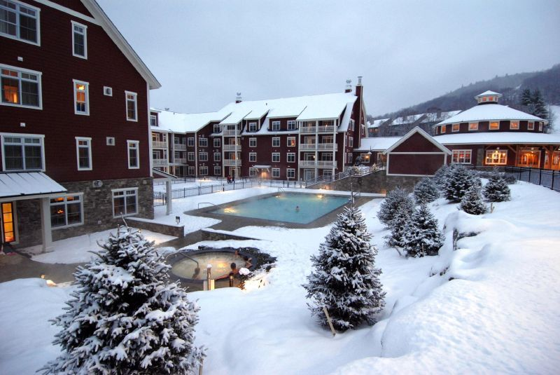 A view of the pool andlodge at Sugarbush Resort, Vermont