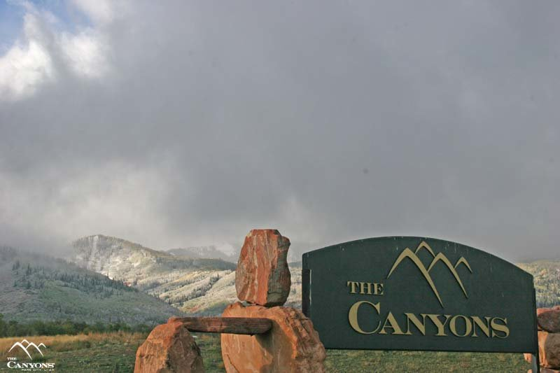 A view of the sign leading into The Canyons, Utah