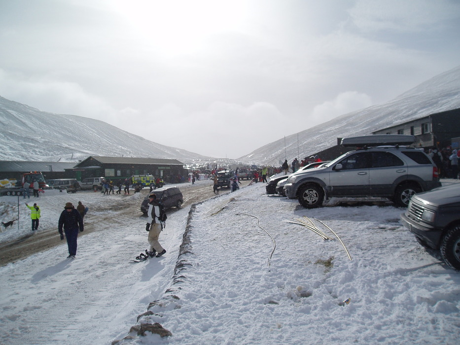 The base area and parking lot at Glenshee, Scotland. Copyright: Cairnwell Mountain Sports