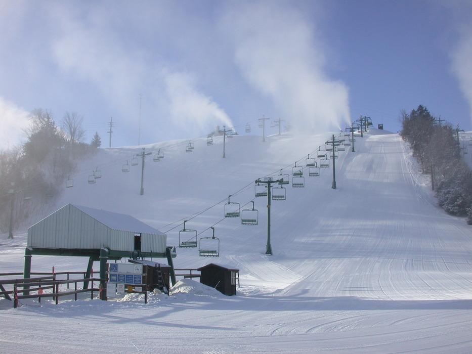 Snowmaking underway at Mt Kato, MN.