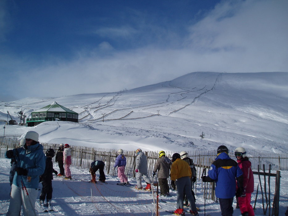 The lift line at Glenshee, Scotland.