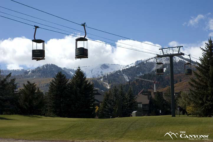 Gondolas in a scenic view at The Canyons, Utah