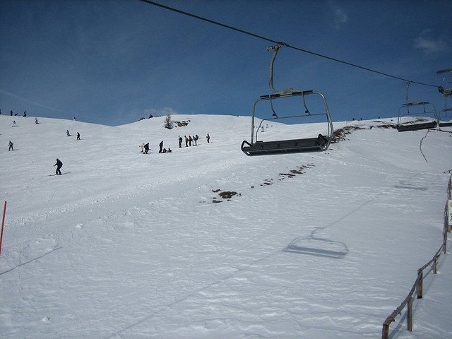 Some skiers at Meransen, Italy