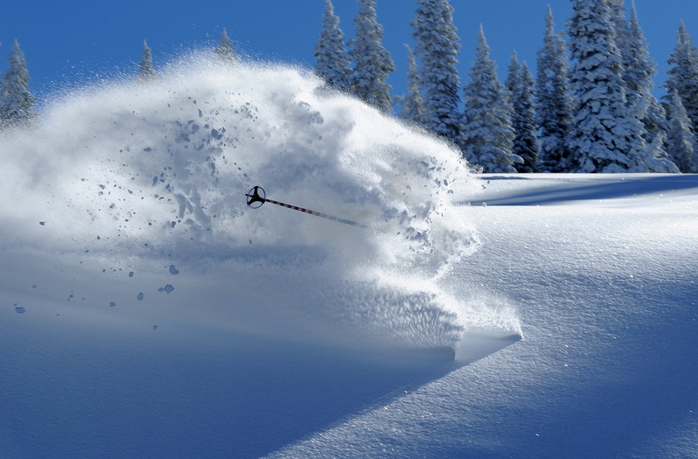 Skier in deep powder at Steamboat (11.18.10), Colorado