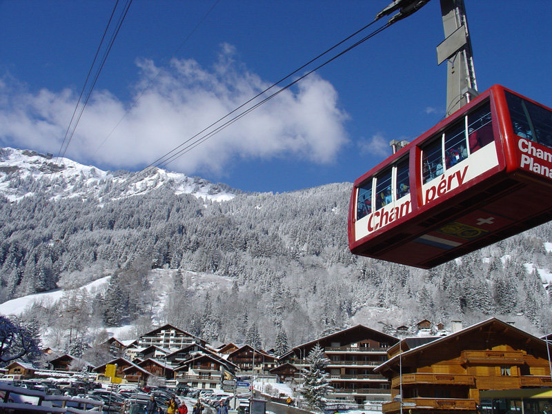 The gondola tram of Champery, SUI