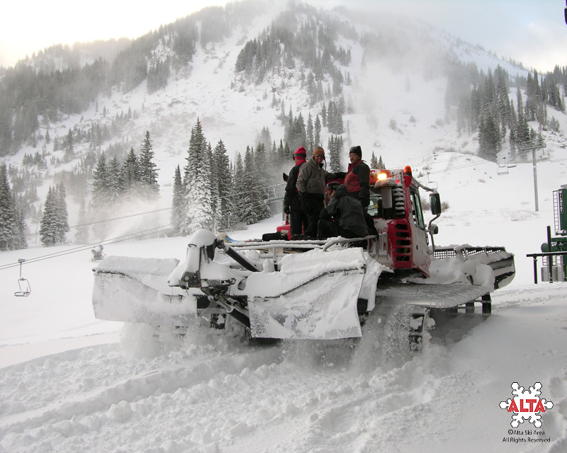 A snowcat making its way around Snowbird, Utah