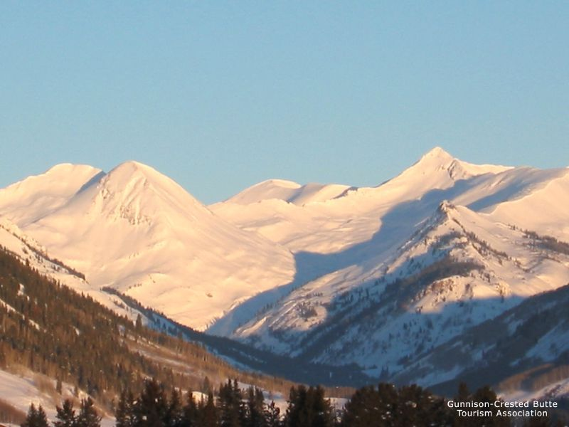 A view of the snow covered mountains in Crested Butte, Colorado