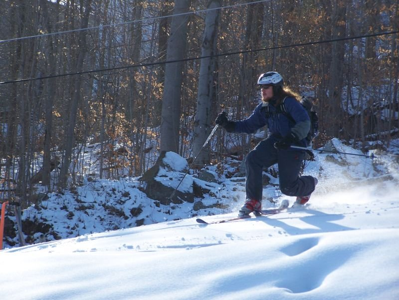 A skier makes his way across the backcountry in Whiteface, New York