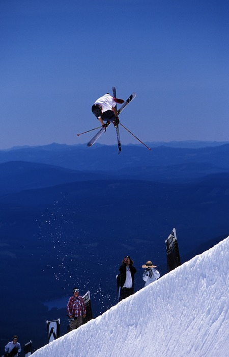 Timberline Lodge on Mt. Hood in Oregon A skier pops into the air with a trick in the half pipe in summer.  Photo: Timberline Lodge