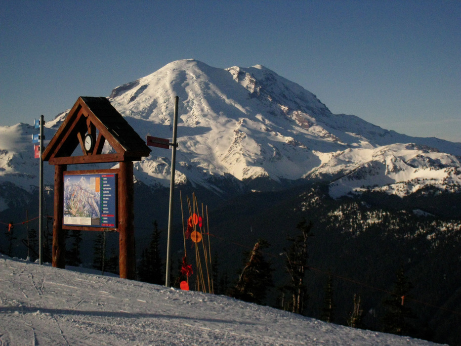 The summit of Crystal Mountain, Washington, looks across at Mt. Rainier. Photo by Becky Lomax.