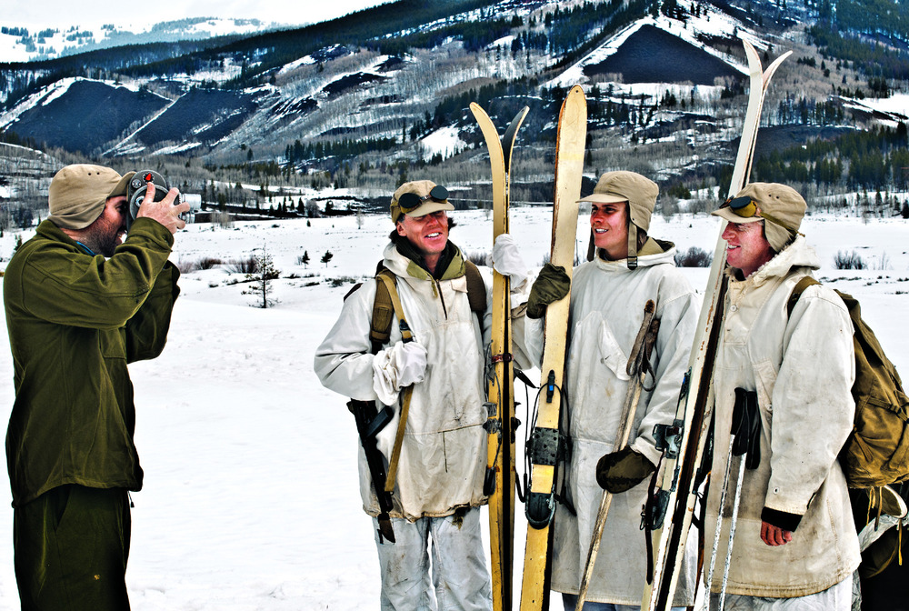 Filming a segment on the 10th Mountain Division