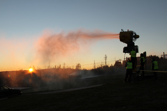 Snow guns ablaze at Snowshoe Mountain Resort. Photo Courtesy of Snowshoe Mountain Resort.